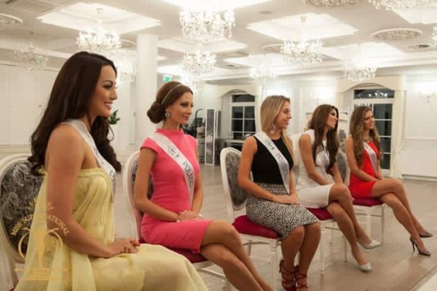 Miss Philippines Rogelie Catacutan (leftmost) during the Preliminary Interview with the judges of Miss Supranational 2015