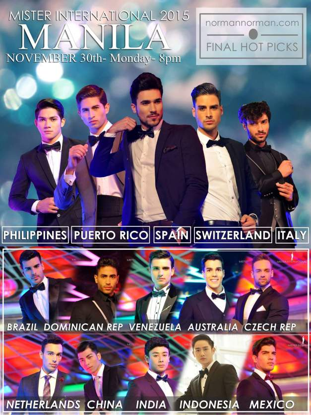 My Final Top 15 for Mister International 2015 (Art layout by Jerome Aquino Caducoy)