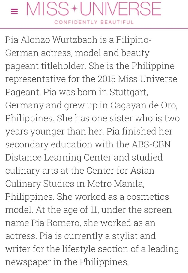 A quick bio on Miss Philippines
