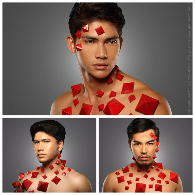 Mister International Philippines 2015 Reniel Villareal (top), Rick Kristoffer Palencia (bottom left) and Mister Tourism International Philippines 2015 Willan Pagayon for Project Headshot Clinic Transform (Photo credit: Niccolo Cosme)