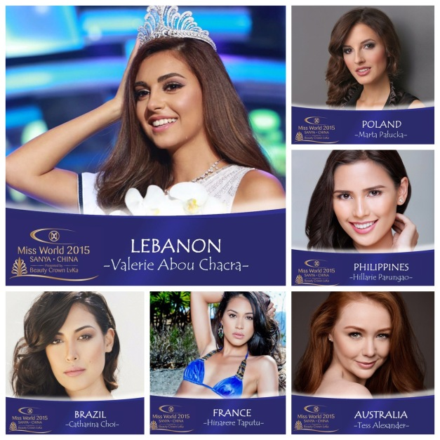 Miss Lebanon Valerie Abou Chacra is my pick to win Miss World 2015
