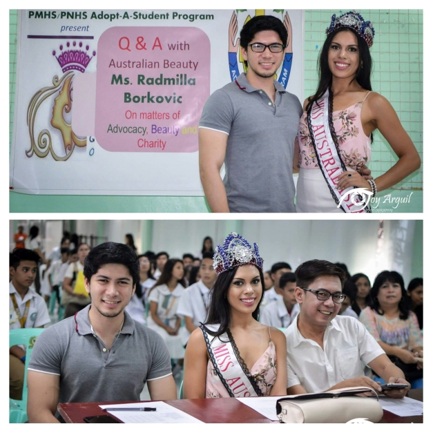 Miss Australasian 2015 Radmilla Borkovic and Gentleman of the Philippines Rick Kristoffer Palencia attended the Scholarship Charity Event for Paranaque National High School with your blogger (Photo credit: Joy Arguil)