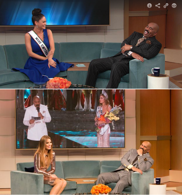 Miss Universe Pia Alonzo Wurtzbach (top) and 1st Runner-Up Ariadna Gutierrez and Steve Harvey in the middle appearing on the latter's talk show