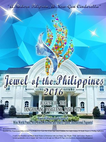 Jewle of the Philippines 2016 will be held on August 10 at the Tanghalang Pasigueno